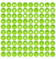 100 development icons set green circle vector image vector image