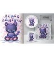 black panther poster and merchandising vector image vector image