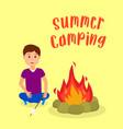 boy roasting marshmallow on bonfire vector image vector image