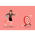 Business woman try to catch the target vector image vector image