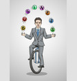 businessman riding a unicycle juggling balls vector image vector image