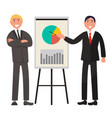 businessmen make presentation and explain diagram vector image