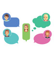 call center operators support avatars online vector image vector image