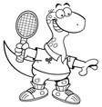 Cartoon brontosaurus playing tennis vector image vector image
