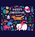 christmas card design template with cozy animals vector image vector image