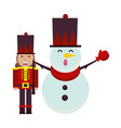 christmas snowman and nutcracker characters vector image vector image