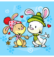 cute bunny in love on winter abstract background vector image