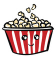 cute smiling red and white popcorn bucket on vector image vector image