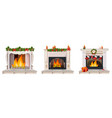 fireplace set collection with christmas decor vector image vector image