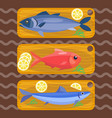 fish on kitchen wooden chopping board fresh lemon vector image