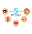 five human feelings mouth or lips hand and nose vector image