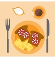 Flat sandwich with sausage and cheese vector image
