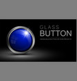 glass blue button vector image