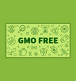 gmo free green banner in thin line style vector image vector image