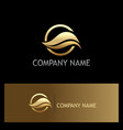 golden wave logo vector image