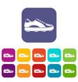 Golf shoe icons set flat vector image