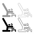 gynecological chair icon outline set grey black vector image