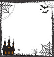 halloween square frame for text with cobweb bat vector image vector image