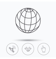 Handshake globe and gps satellite icons vector image vector image