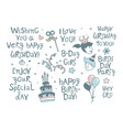 happy birthday lettering calligraphy set festive vector image