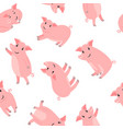 happy cartoon pink pigs pattern vector image vector image