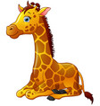 happy giraffe cartoon sitting vector image vector image