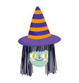 happy halloween witch with hat face trick vector image vector image