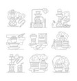 hookah accessories line detailed icons set vector image