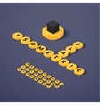 Isometric blocks with letters vector image
