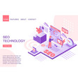 isometric man improving seo technology landing vector image vector image