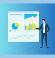 man showing diagrams on board presentation vector image vector image