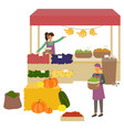 market place with vegetables and fruit vector image vector image