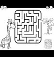 maze activity game with giraffe and palm vector image vector image