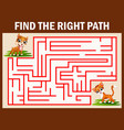maze game find the dog way to catch cat vector image