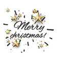 merry christmas print with gold stars vector image