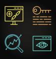 neon seo icon set in line style vector image