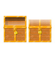 opened and closed chest with padlock vector image vector image