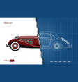 outline blueprint retro car vintage cabriolet vector image