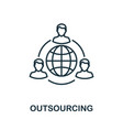 outsourcing outline icon thin line concept vector image vector image