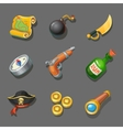 pirate icons set set corsair items different vector image