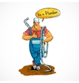 Plumber with water pipe and hose vector image vector image
