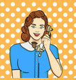 pop art background retro girl brunette talking vector image vector image