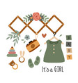 poster with bohemian bagirl elements vector image vector image