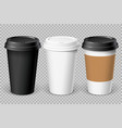realistic white disposable paper cup vector image vector image