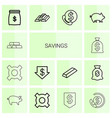 savings icons vector image vector image