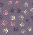 seamless pattern with leaves on purple background vector image vector image
