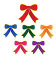 set bow with ribbon on white background vector image vector image