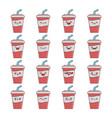 set fun kawaii cola soda drink icon cartoons vector image