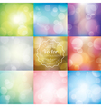 Set of Abstract blurred lights bokeh background vector image vector image