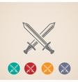 set of crossing swords icons fight concept vector image vector image